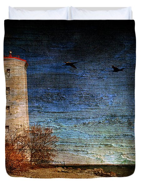 Presquile Lighthouse Duvet Cover by Lois Bryan