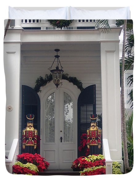 Pretty Christmas Decoration In Key West Duvet Cover by Susanne Van Hulst