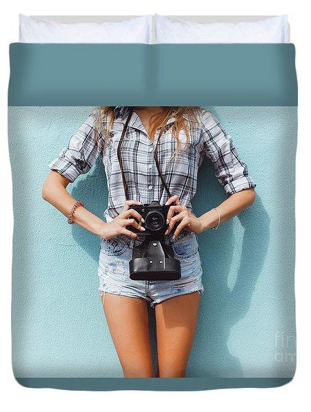 Pretty Woman Using Vintage Camera Duvet Cover by Siarhei Kazlou