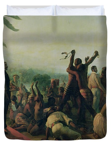Proclamation Of The Abolition Of Slavery In The French Colonies Duvet Cover by Francois Auguste Biard