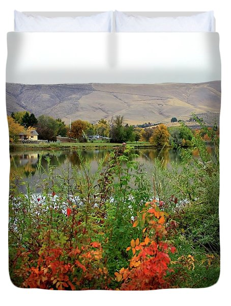 Prosser Autumn River With Hills Duvet Cover by Carol Groenen
