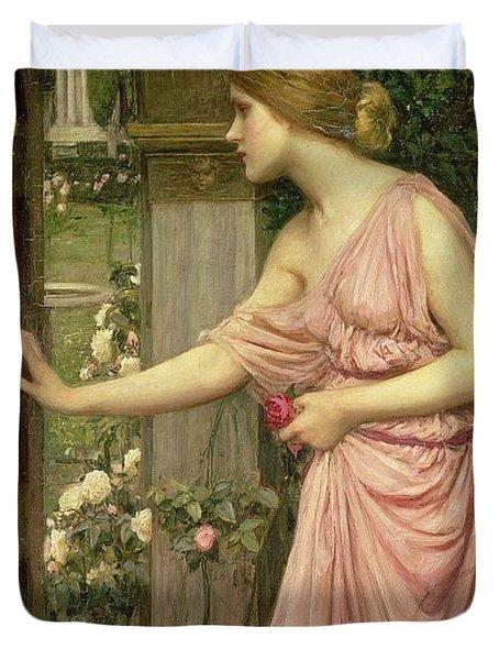 Psyche Entering Cupid's Garden Duvet Cover by John William Waterhouse