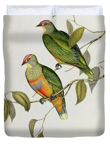 Ptilinopus Ewingii Duvet Cover by John Gould