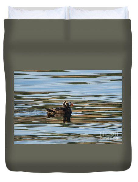 Puffin Reflected Duvet Cover by Mike Dawson