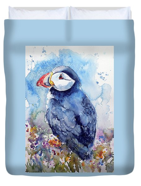 Puffin With Flowers Duvet Cover by Kovacs Anna Brigitta