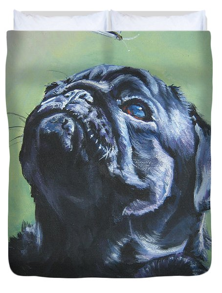 Pug black  Duvet Cover by L A Shepard
