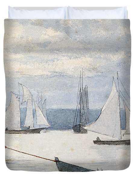 Pulling The Dory Duvet Cover by Winslow Homer