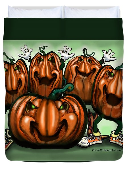 Pumpkin Party Duvet Cover by Kevin Middleton