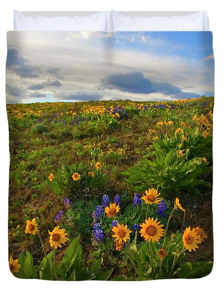 Purple And  Gold Duvet Cover by Mike  Dawson