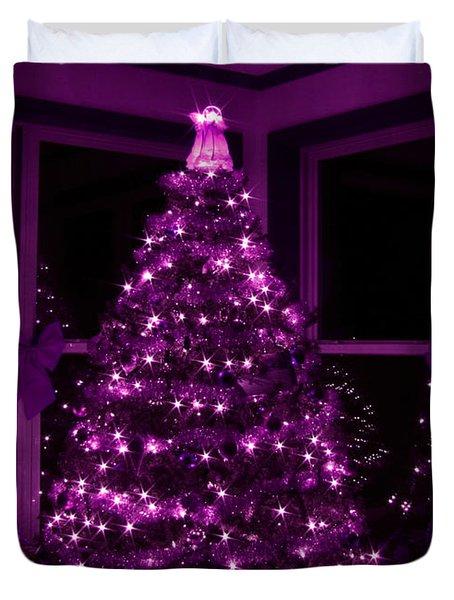 Purple Christmas Duvet Cover by Lori Deiter