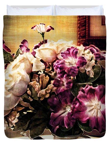 Purple Floral Arrangement Duvet Cover by Joan  Minchak