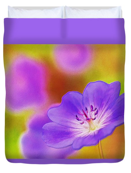 Purple Geranium Duvet Cover by Lanjee Chee