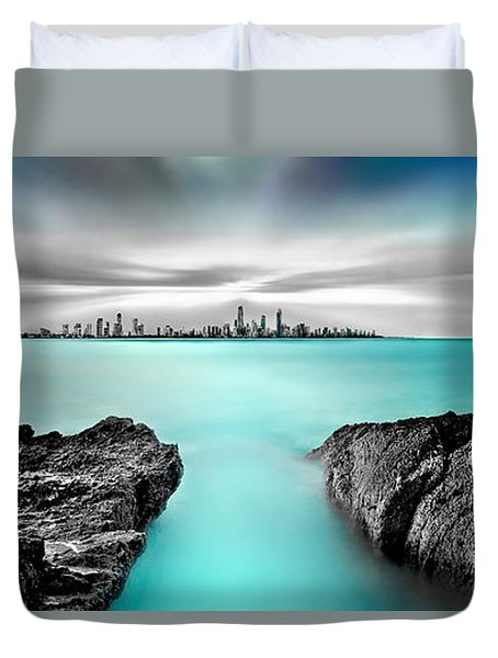 Quantum Divide Panorama Duvet Cover by Az Jackson