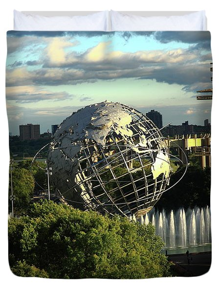 Queens New York City - Unisphere Duvet Cover by Frank Romeo