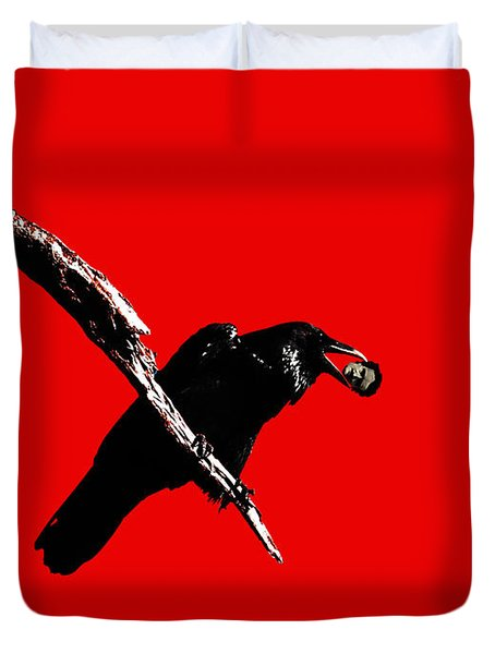 Quoth The Raven Nevermore . Red Duvet Cover by Wingsdomain Art and Photography