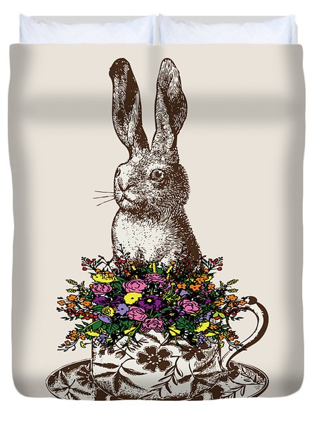 Rabbit In A Teacup Duvet Cover by Eclectic at HeART