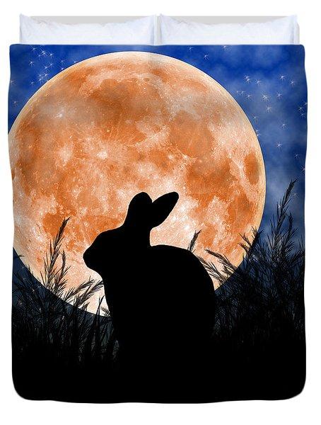 Rabbit Under The Harvest Moon Duvet Cover by Elizabeth Alexander