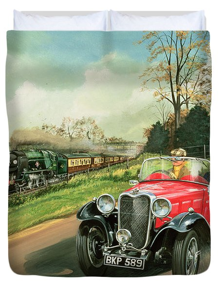Racing The Train Duvet Cover by Richard Wheatland