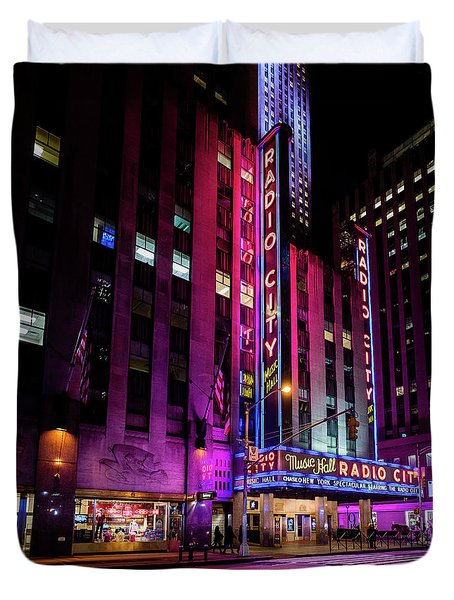 Duvet Cover featuring the photograph Radio City Music Hall by M G Whittingham