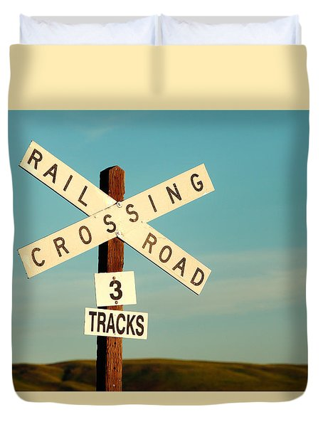 Railroad Crossing Duvet Cover by Todd Klassy