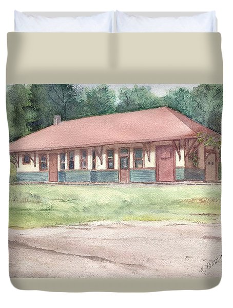 Railroad Depot Duvet Cover by Katherine  Berlin