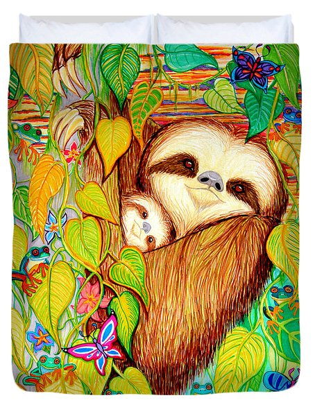 Rain Forest Survival Mother And Baby Three Toed Sloth Duvet Cover by Nick Gustafson