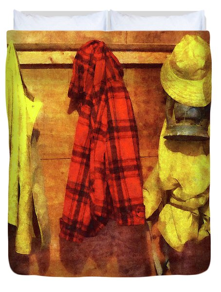 Rain Gear And Red Plaid Jacket Duvet Cover by Susan Savad