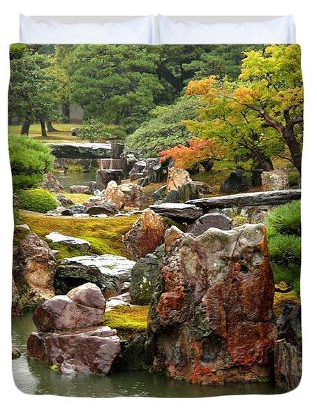 Rain On Kyoto Garden Duvet Cover by Carol Groenen