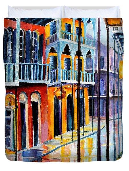Rain On Royal Street Duvet Cover by Diane Millsap