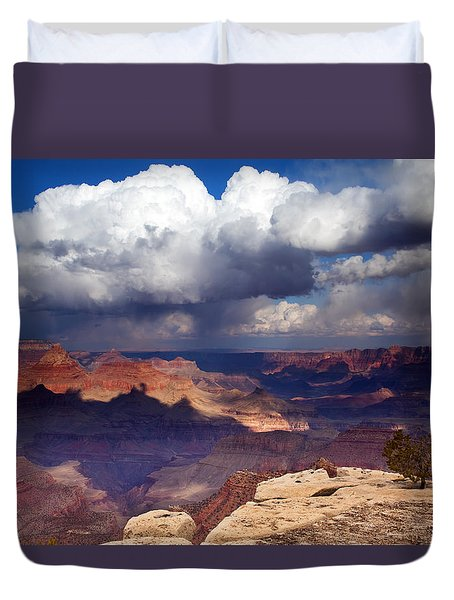 Rain over the Grand Canyon Duvet Cover by Mike  Dawson