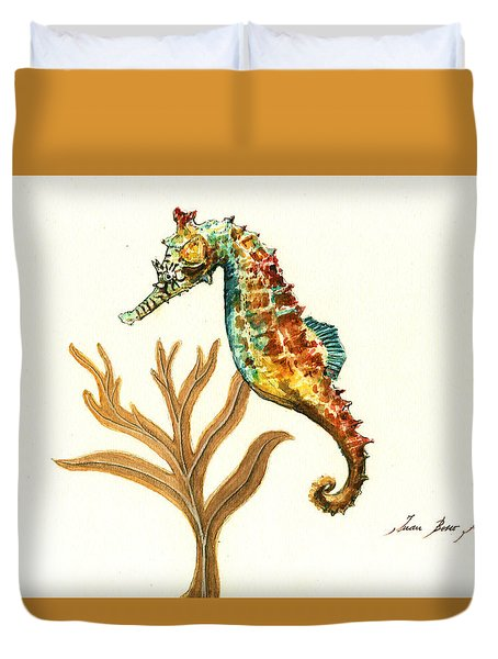Rainbow Seahorse Duvet Cover by Juan Bosco