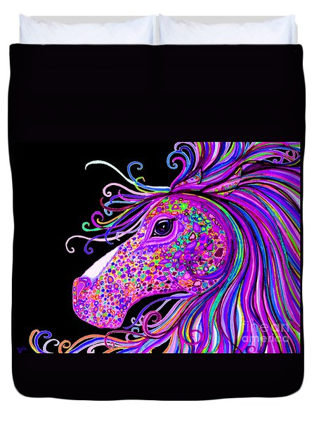 Rainbow Spotted Horse Head 2 Duvet Cover by Nick Gustafson