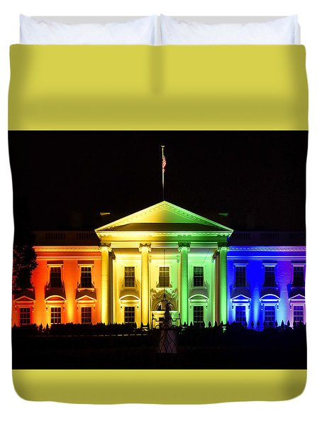 Rainbow White House  - Washington Dc Duvet Cover by Brendan Reals