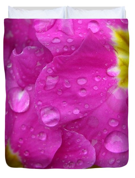 Raindrops on Pink Flowers Duvet Cover by Carol Groenen
