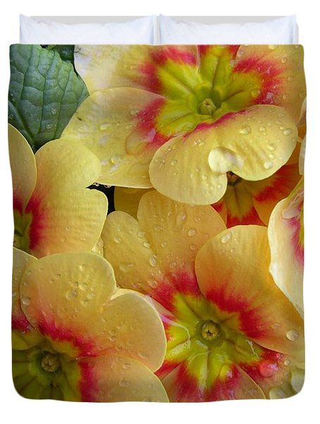 Raindrops On Yellow Flowers Duvet Cover by Carol Groenen
