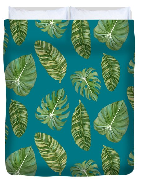 Rainforest Resort - Tropical Leaves Elephant's Ear Philodendron Banana Leaf Duvet Cover by Audrey Jeanne Roberts
