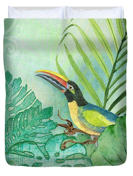 Rainforest Tropical - Tropical Toucan W Philodendron Elephant Ear And Palm Leaves Duvet Cover by Audrey Jeanne Roberts