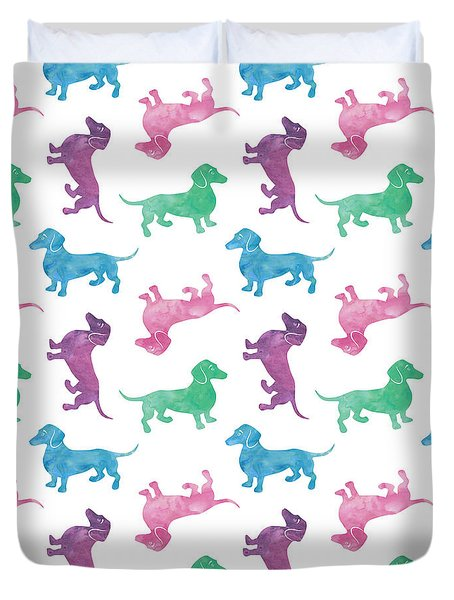 Raining Dachshunds Duvet Cover by Antique Images