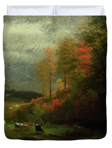 Rainy Day In Autumn Duvet Cover by Albert Bierstadt