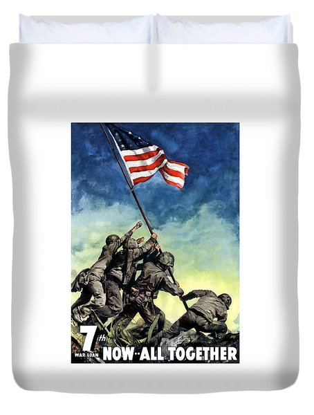 Raising The Flag On Iwo Jima Duvet Cover by War Is Hell Store