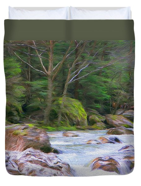 Rapids At The Rivers Bend Duvet Cover by Jeff Kolker