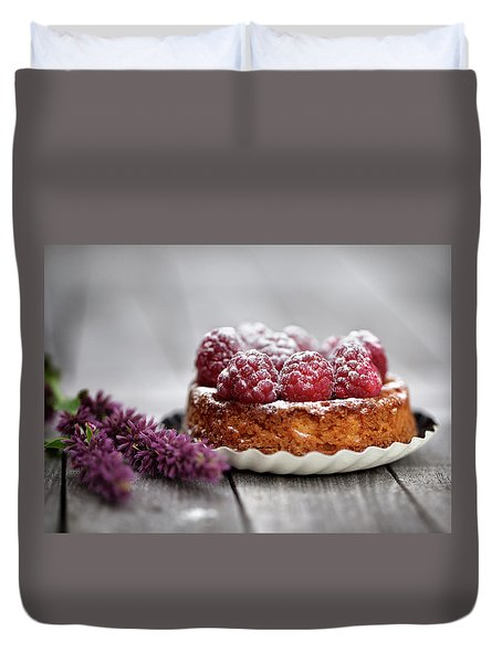 Raspberry Tarte Duvet Cover by Nailia Schwarz
