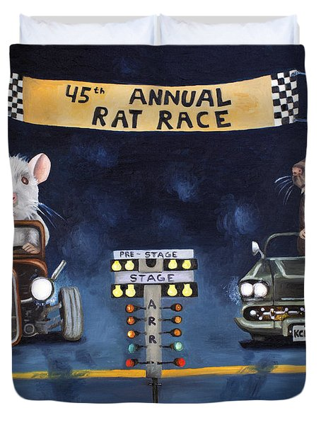 Rat Race Duvet Cover by Leah Saulnier The Painting Maniac