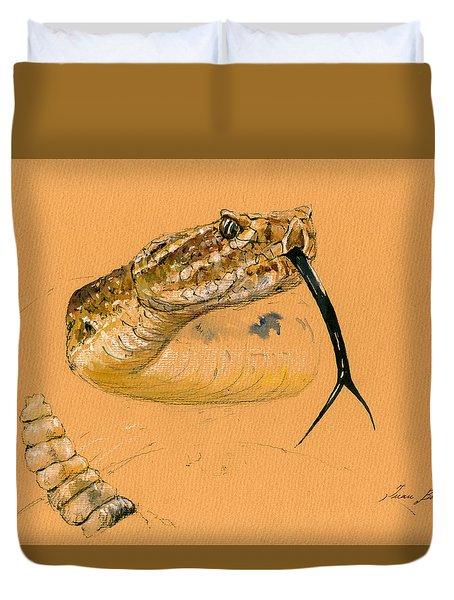 Rattlesnake Painting Duvet Cover by Juan  Bosco