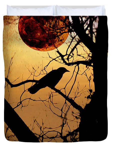 Raven Moon Duvet Cover by Bill Cannon