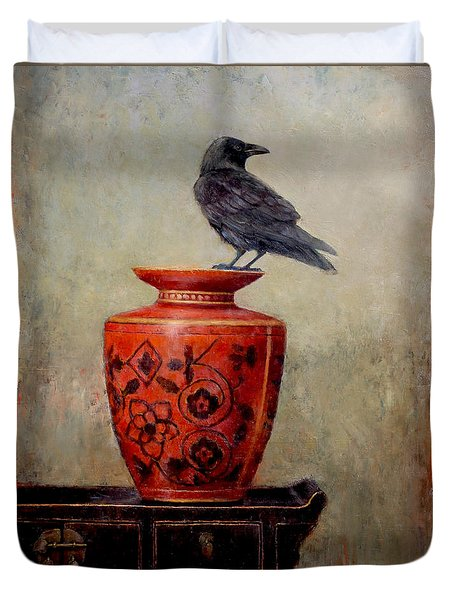 Raven On Red  Duvet Cover by Lori  McNee