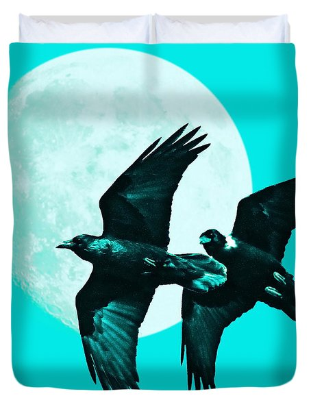 Ravens of the Moon . Cyan Square Duvet Cover by Wingsdomain Art and Photography