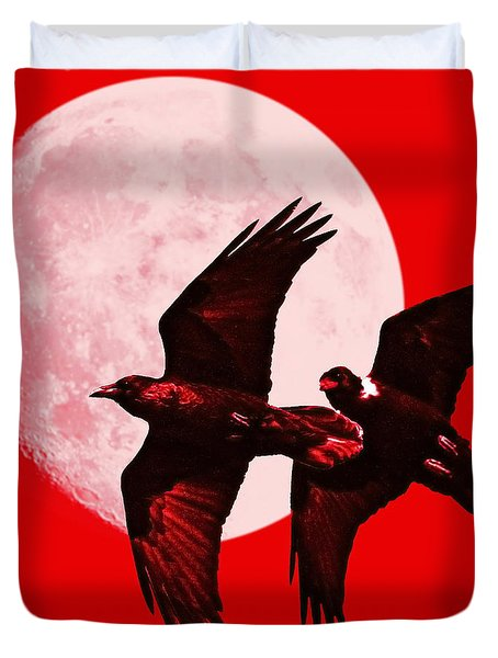 Ravens Of The Moon . Red Square Duvet Cover by Wingsdomain Art and Photography