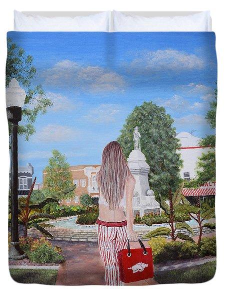 Razorback Swagger At Bentonville Square Duvet Cover by Belinda Nagy