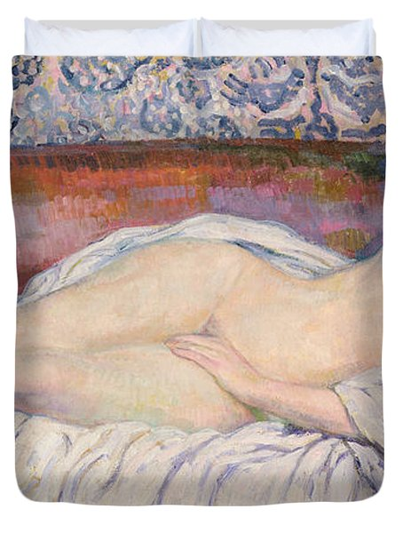 Reclining Nude  Duvet Cover by Theo van Rysselberghe